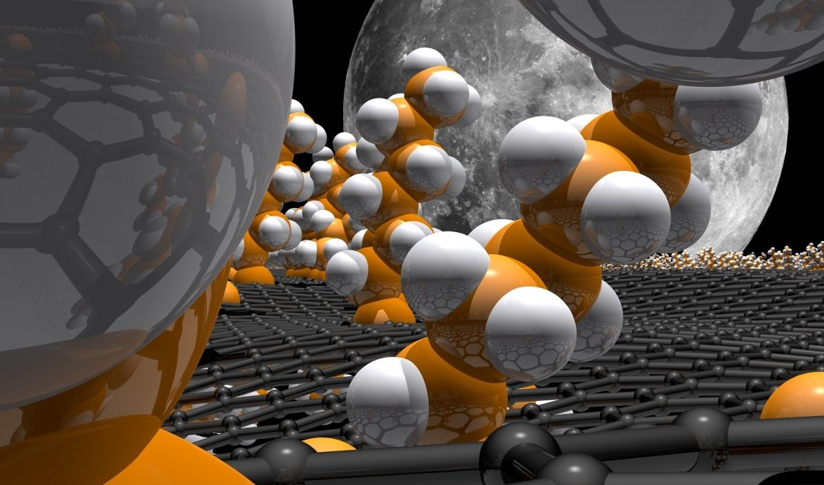 Artist's impression of a layer of graphene (grey) with other molecules attached. (Image: FAU/SFB 953)