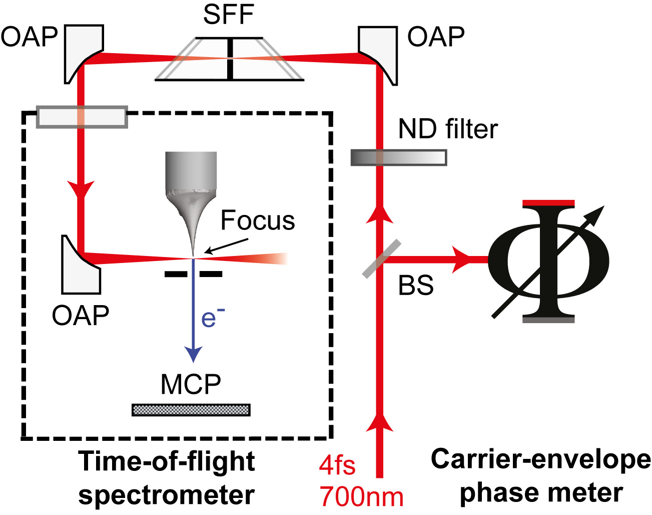The diagram shows the experimental set-up. The researchers focused laser pulses (red arrows) onto a nanometre-sharp metal tip (nanotip), causing it to emit electrons. These electrons act as a kind of sensor that enables the researchers to interpret the exact form of the light wave. (Image: Hoff/Krüger/FAU)
