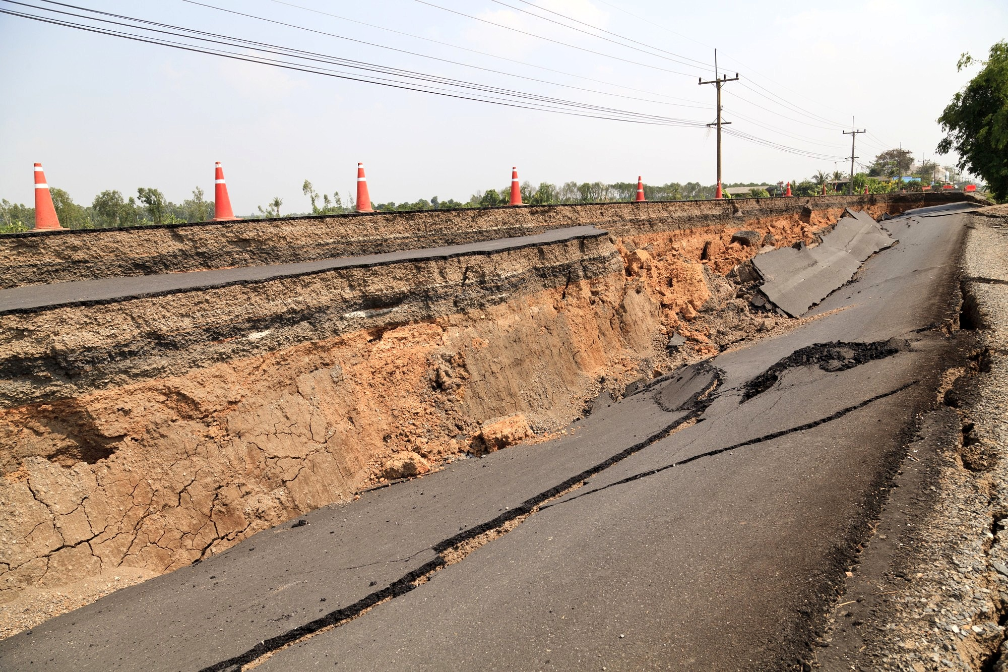 The image shows a road that was destroyed by an earthquake.