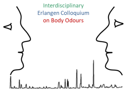 The picture shows a graphic. On the left and right of the image are two heads which look at each other. Between them is a graph and the title of the colloquium.