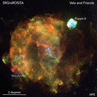 Due to its size and close distance to Earth, the 'Vela supernova remnant' which is shown in this picture is one of the most prominent objects in the X-ray sky. The Vela supernova exploded about 12000 years ago at a distance of 800 light-years. (Image: Peter Predehl, Werner Becker (MPE), Davide Mella)